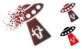 Icône tramée décomposée d'abduction de vache à pixel illustration libre de droits