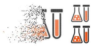 Icône tramée décomposée de chimie de pixel illustration stock