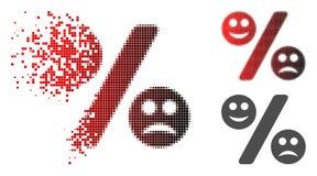 Icône tramée décomposée de pour cent d'émotion de Pixelated illustration stock