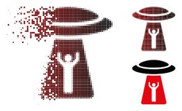Icône tramée détruite d'UFO d'abduction d'homme de pixel illustration de vecteur