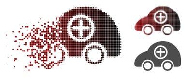 Icône tramée détruite de voiture d'ambulance de Pixelated illustration stock