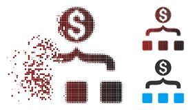 Icône tramée de disparition d'Aggregator d'argent de pixel Illustration de Vecteur