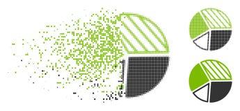 Icône tramée dispersée de graphique circulaire de Pixelated illustration stock