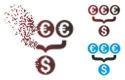 Icône tramée endommagée d'Aggregator de conversion du dollar de pixel euro Illustration Libre de Droits