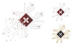 Icône tramée pointillée cassée de circuit de roulette de Digital illustration libre de droits