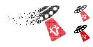 Icône tramée pointillée déchiquetée d'abduction de vache illustration de vecteur