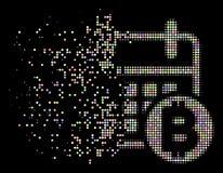 Icône tramée pointillée de calendrier de Bitcoin dispersée par lumière illustration de vecteur