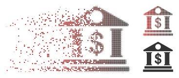 Icône tramée rompue de bâtiment d'American Bank de pixel illustration de vecteur