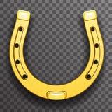 Icône transparente de fond de chance en métal d'or de symbole de talisman en fer à cheval de fortune illustration stock