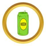 Icône verte de canette de bière, style de bande dessinée illustration libre de droits