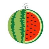 Icône verte mûre entière de tige de pastèque Graines de coupe de tranche demi Peau ronde rouge verte de chair de baie de fruit No Images libres de droits