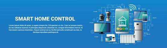 Icônes à la maison futées d'application de Smartphone de système de contrôle de Images stock