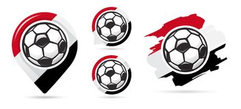 Icônes égyptiennes de vecteur du football But du football Ensemble d'icônes du football Indicateur de carte du football Condition illustration libre de droits