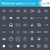 Icônes électriques et électroniques, symboles électriques de diagramme éclairage Images libres de droits