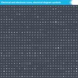 Icônes électriques et électroniques, symboles électriques de diagramme Éléments de schéma de circuit Chargez les icônes de vecteu Photos libres de droits