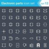 Icônes électriques et électroniques, symboles électriques de diagramme L'électronique de Digital, bascule, circuit logique, affic Illustration Libre de Droits