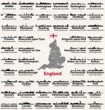 Icônes abstraites de silhouettes d'horizons de villes de commandant de l'Angleterre Carte de l'Angleterre avec toutes les villes  illustration de vecteur