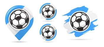 Icônes argentines de vecteur du football But du football Ensemble d'icônes du football Indicateur de carte du football Condition  illustration libre de droits