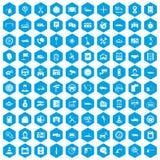 100 icônes automatiques de centre de service réglées bleues illustration libre de droits