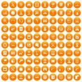 100 icônes automatiques de centre de service réglées oranges illustration de vecteur
