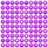 100 icônes automatiques de centre de service réglées pourpres illustration de vecteur
