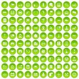 100 icônes automatiques de centre de service réglées vertes illustration stock