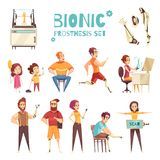 Icônes bioniques de bande dessinée de Prothesis réglées illustration de vecteur