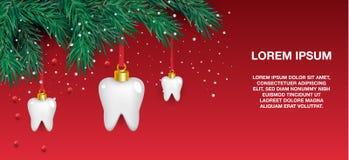 Icônes blanches de dents sous forme d'arbre de Noël sur un fond rouge Éléments de vecteur pendant la nouvelle année illustration de vecteur