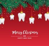Icônes blanches de dents sous forme d'arbre de Noël sur un fond rouge Éléments de vecteur pendant la nouvelle année illustration libre de droits