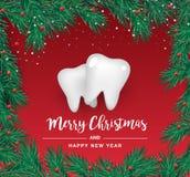 Icônes blanches de dents sous forme d'arbre de Noël sur un fond rouge Éléments de vecteur pendant la nouvelle année illustration stock