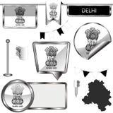Icônes brillantes avec le drapeau de Delhi, Inde images libres de droits
