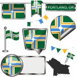 Icônes brillantes avec le drapeau de Portland, Orégon Photos libres de droits