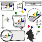 Icônes brillantes avec le drapeau de Taïpeh, Taïwan Images libres de droits