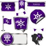 Icônes brillantes avec le drapeau de Tokyo Image stock
