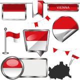 Icônes brillantes avec le drapeau de Vienne, Autriche Photos stock