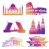 Icônes célèbres de silhouettes de points de repère illustration stock