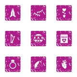 Icônes cardiaques réglées, style grunge Photographie stock libre de droits