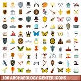 100 icônes centrales d'archéologie réglées, style plat illustration stock