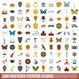 100 icônes centrales d'histoire réglées, style plat illustration stock