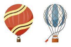 Icônes chaudes de vecteur de ballon à air réglées Voyage à air chaud montant en ballon de bande dessinée d'aventure d'été illustration de vecteur