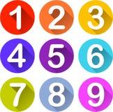 Icônes colorées de nombres Image libre de droits