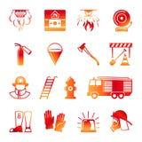 Icônes colorées de sapeur-pompier illustration stock