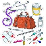 Icônes comiques de style, autocollant des outils médicaux, sac de docteur photo stock
