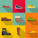 Icônes confortables de chaussures réglées, style plat Image libre de droits