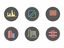 Icônes créatives pour construire dans un cercle illustration de vecteur