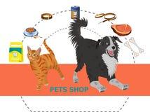 Icônes décoratives de magasin de bêtes réglées illustration stock