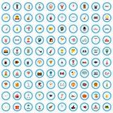 100 icônes d'échange d'idées de fête réglées, style plat illustration libre de droits