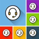 Icônes d'écouteurs avec la longue ombre Photographie stock libre de droits