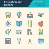 Icônes d'éducation et d'école Collection remplie 47 de conception d'ensemble illustration de vecteur