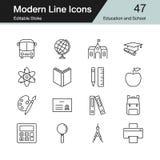 Icônes d'éducation et d'école La ligne moderne conception a placé 47 Pour prese illustration libre de droits